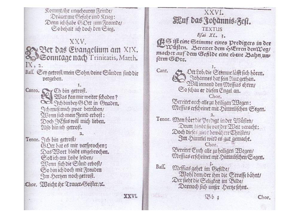 Erdmann Neumeister *1671 Uechtritz bei Weißenfels Theologiestudium in Leipzig, Magisterarbeit De Poetis Germanicis Hofprediger in Weißenfels und Sorau Seit 1715 Hauptpastor an St.