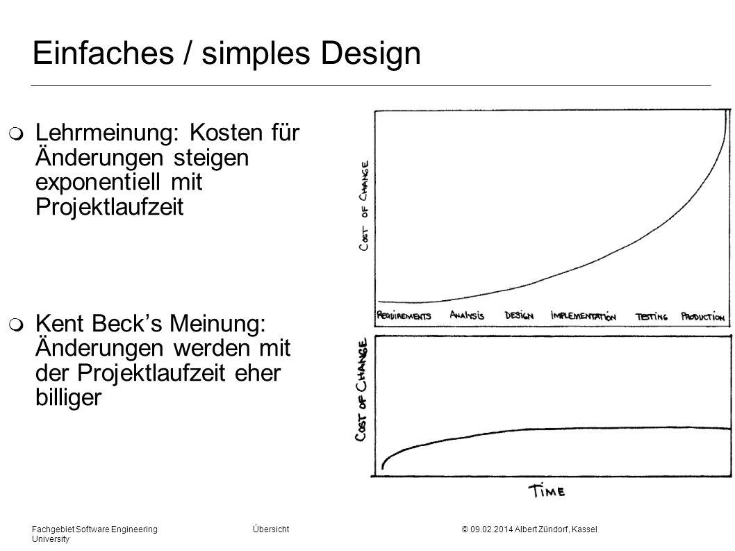 Fachgebiet Software Engineering Übersicht © 09.02.2014 Albert Zündorf, Kassel University Einfaches / simples Design m Lehrmeinung: Kosten für Änderung