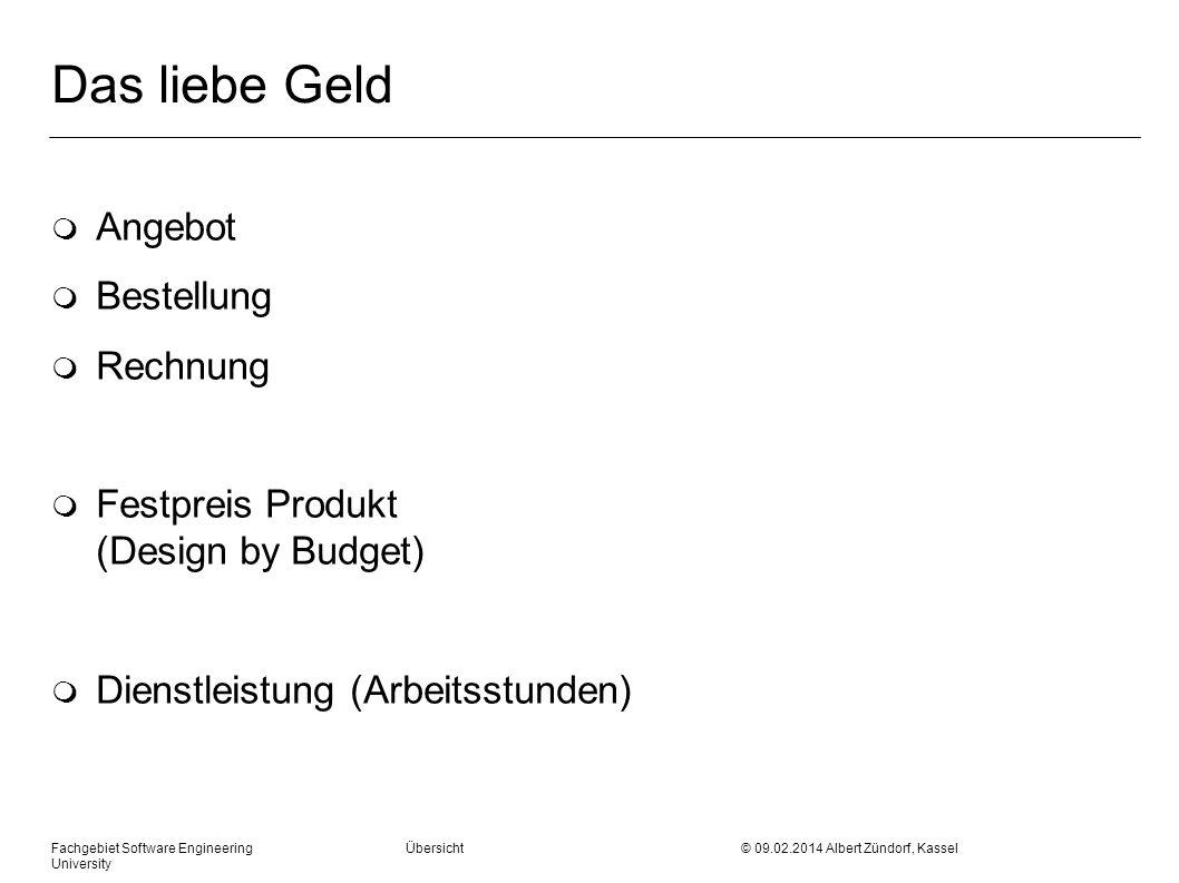 Das liebe Geld m Angebot m Bestellung m Rechnung m Festpreis Produkt (Design by Budget) m Dienstleistung (Arbeitsstunden) Fachgebiet Software Engineer