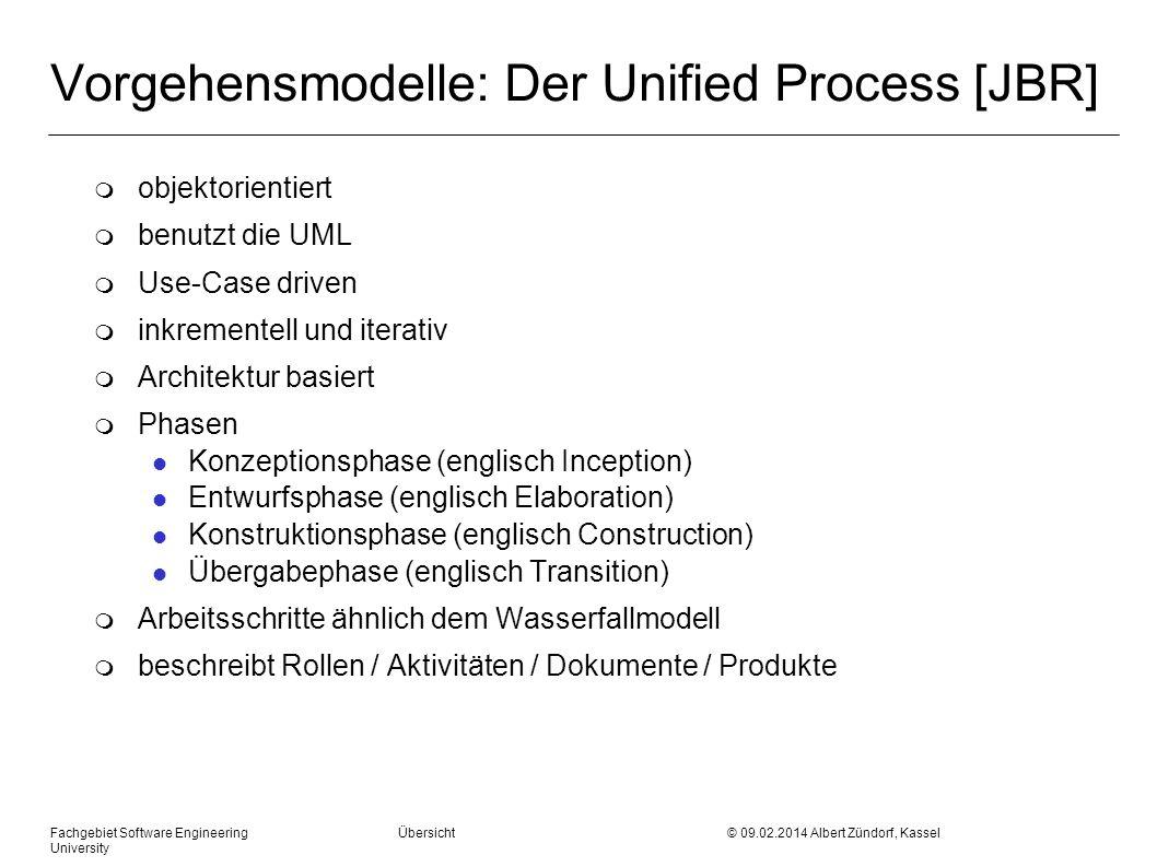 Fachgebiet Software Engineering Übersicht © 09.02.2014 Albert Zündorf, Kassel University Vorgehensmodelle: Der Unified Process