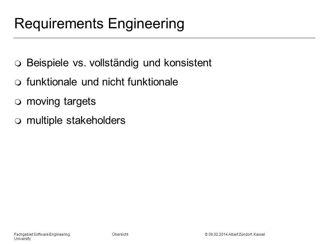 Requirements Engineering m Beispiele vs. vollständig und konsistent m funktionale und nicht funktionale m moving targets m multiple stakeholders Fachg