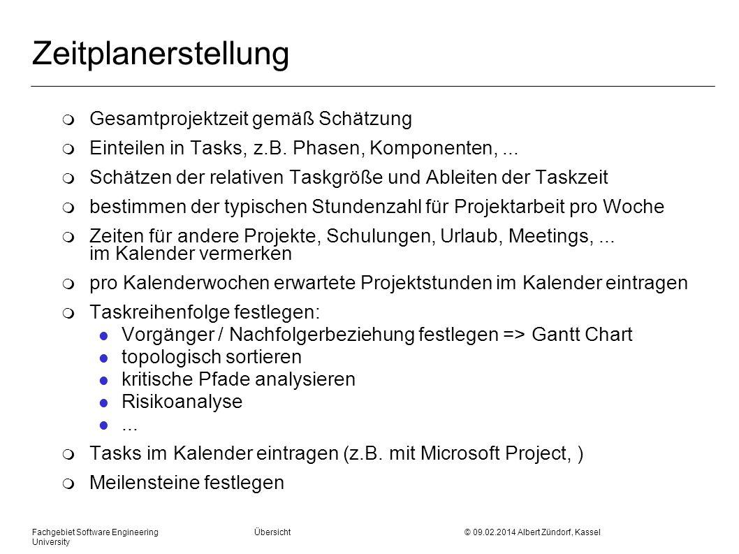 Zeitplanerstellung m Gesamtprojektzeit gemäß Schätzung m Einteilen in Tasks, z.B. Phasen, Komponenten,... m Schätzen der relativen Taskgröße und Ablei