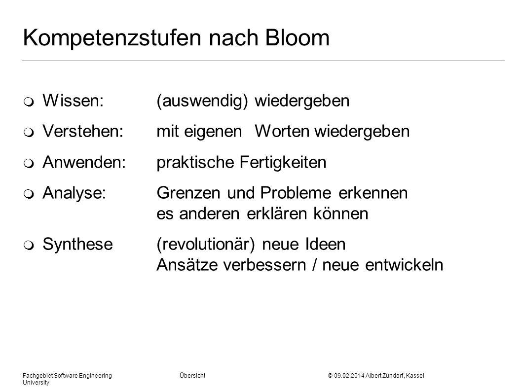 Kompetenzstufen nach Bloom m Wissen: (auswendig) wiedergeben m Verstehen: mit eigenen Worten wiedergeben m Anwenden:praktische Fertigkeiten m Analyse: