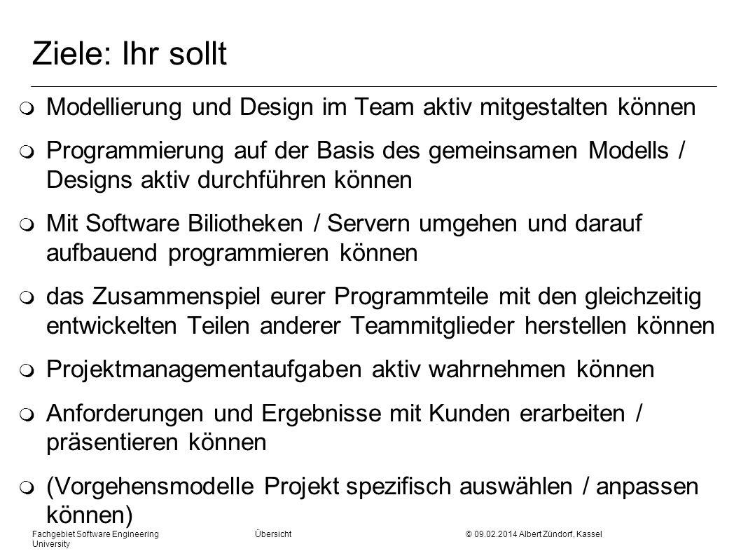 Ziele: Ihr sollt m Modellierung und Design im Team aktiv mitgestalten können m Programmierung auf der Basis des gemeinsamen Modells / Designs aktiv du