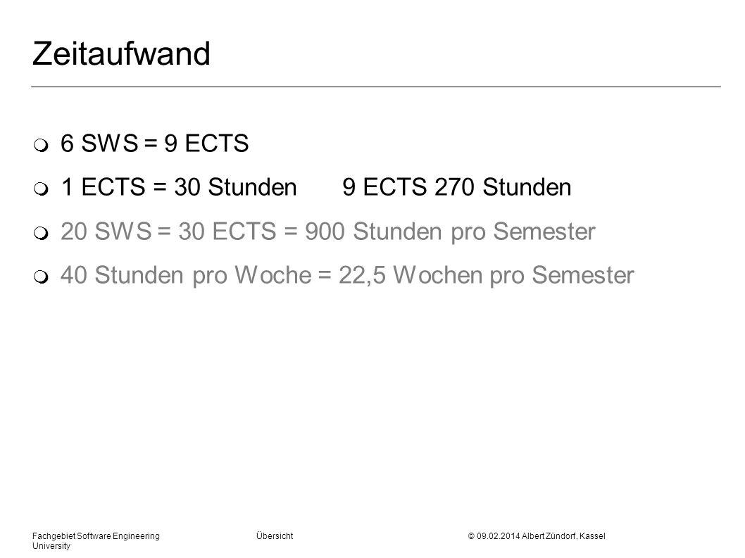 Zeitaufwand m 6 SWS = 9 ECTS m 1 ECTS = 30 Stunden9 ECTS 270 Stunden m 20 SWS = 30 ECTS = 900 Stunden pro Semester m 40 Stunden pro Woche = 22,5 Woche