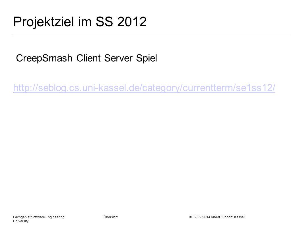 Fachgebiet Software Engineering Übersicht © 09.02.2014 Albert Zündorf, Kassel University Projektziel im SS 2012 CreepSmash Client Server Spiel http://
