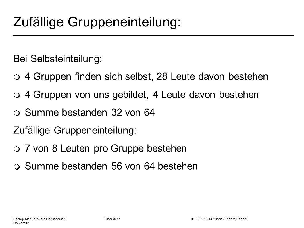 Zufällige Gruppeneinteilung: Bei Selbsteinteilung: m 4 Gruppen finden sich selbst, 28 Leute davon bestehen m 4 Gruppen von uns gebildet, 4 Leute davon