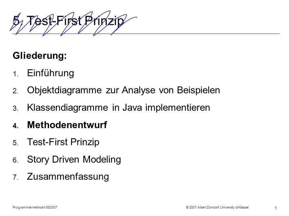 Programmiermethodik SS2007 © 2007 Albert Zündorf, University of Kassel 1 5. Test-First Prinzip Gliederung: 1. Einführung 2. Objektdiagramme zur Analys