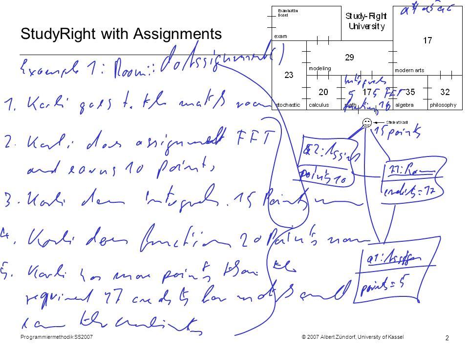 Programmiermethodik SS2007 © 2007 Albert Zündorf, University of Kassel 2 StudyRight with Assignments