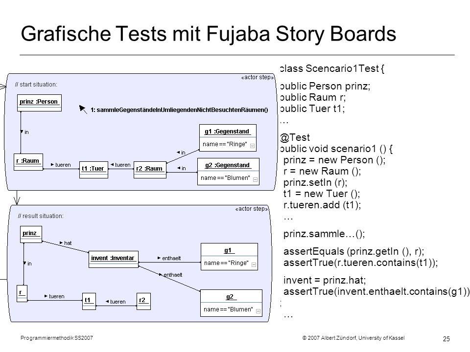 Programmiermethodik SS2007 © 2007 Albert Zündorf, University of Kassel 25 Grafische Tests mit Fujaba Story Boards class Scencario1Test { public Person prinz; public Raum r; public Tuer t1; … @Test public void scenario1 () { prinz = new Person (); r = new Raum (); prinz.setIn (r); t1 = new Tuer (); r.tueren.add (t1); … prinz.sammle…(); assertEquals (prinz.getIn (), r); assertTrue(r.tueren.contains(t1)); invent = prinz.hat; assertTrue(invent.enthaelt.contains(g1)) ; …