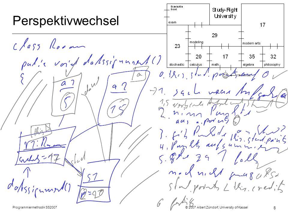 Programmiermethodik SS2007 © 2007 Albert Zündorf, University of Kassel 8 Perspektivwechsel