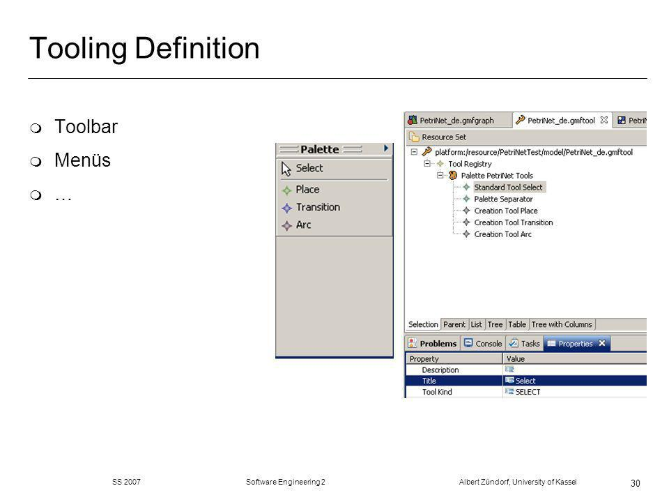 SS 2007 Software Engineering 2 Albert Zündorf, University of Kassel 30 Tooling Definition m Toolbar m Menüs m …