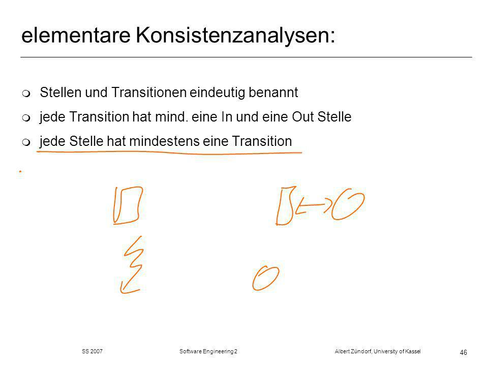 SS 2007 Software Engineering 2 Albert Zündorf, University of Kassel 46 elementare Konsistenzanalysen: m Stellen und Transitionen eindeutig benannt m j