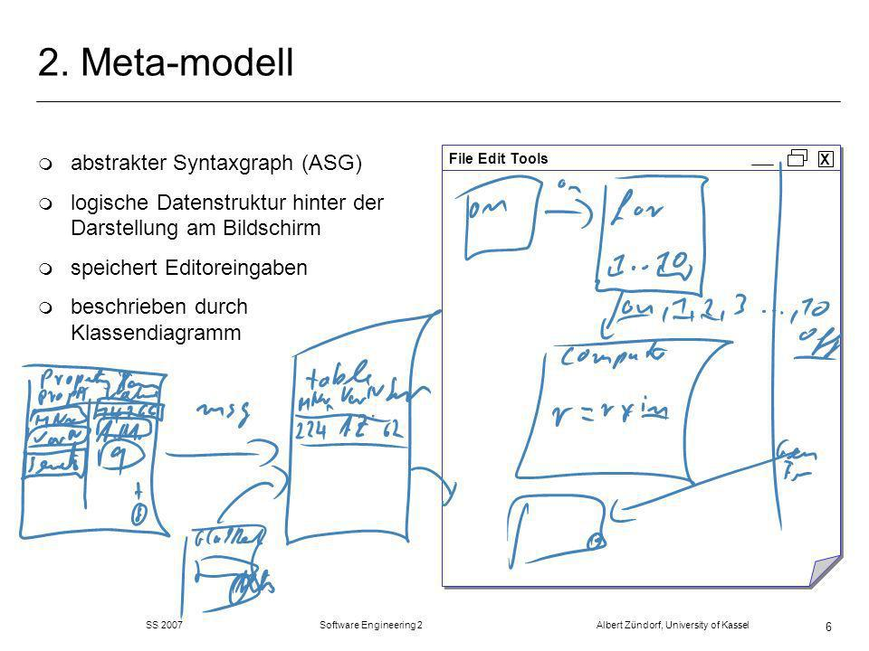 SS 2007 Software Engineering 2 Albert Zündorf, University of Kassel 27 EMF + GEF = GMF m GEF ist schön und gut, aber … m … immer noch viel zu kompliziert und aufwändig m … nicht model-driven (Java-Hacken) GMF (Graphical Modeling Framework) m Führt EMF und GEF zusammen m Spezifizieren statt Programmieren m … alles viel schöner, einfacher, schneller, besser !.