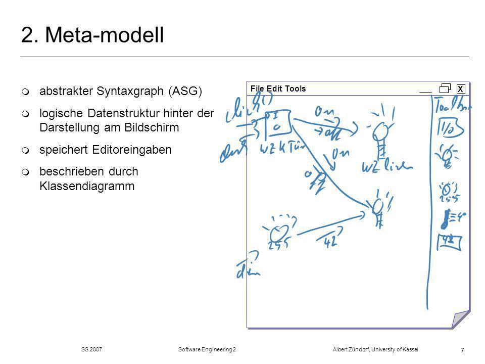 SS 2007 Software Engineering 2 Albert Zündorf, University of Kassel 58 Code Generierung Mehrere Alternativen: m Visitor der das Metamodell durchläuft und Strings in eine Datei schreibt.