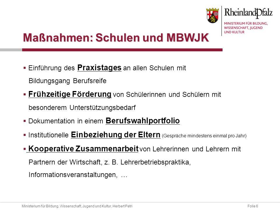 Folie 6Ministerium für Bildung, Wissenschaft, Jugend und Kultur, Herbert Petri Einführung des Praxistages an allen Schulen mit Bildungsgang Berufsreif
