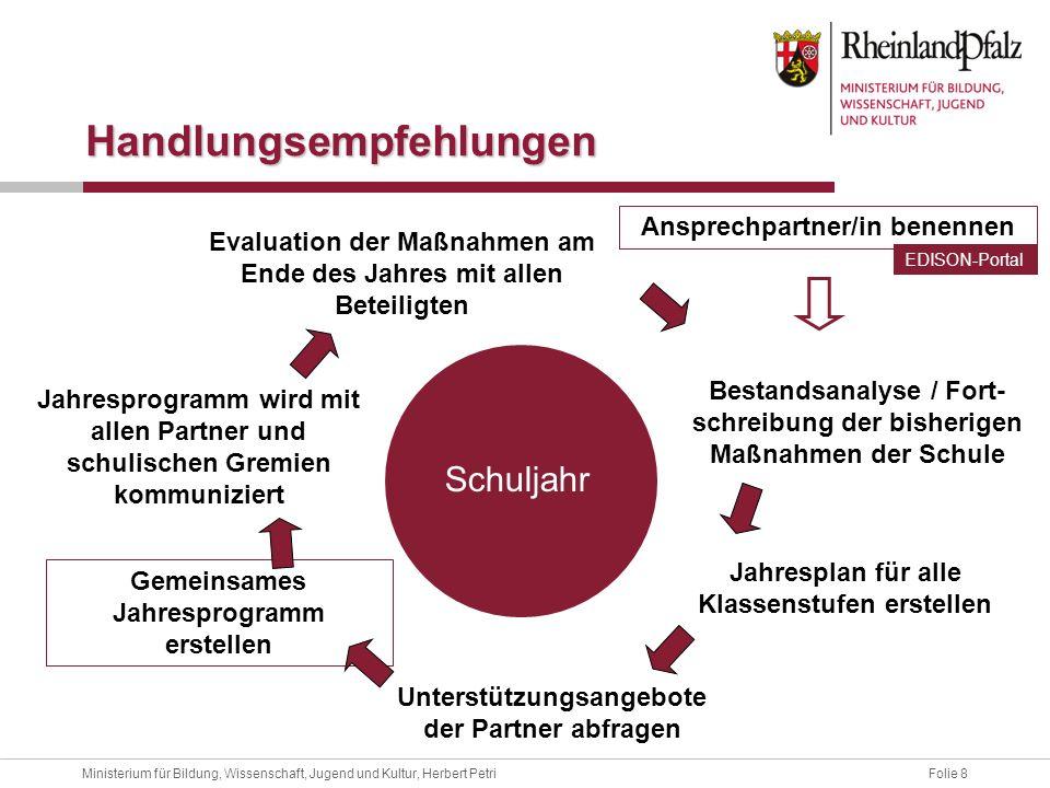 Folie 8Ministerium für Bildung, Wissenschaft, Jugend und Kultur, Herbert Petri Ansprechpartner/in benennen Bestandsanalyse / Fort- schreibung der bish