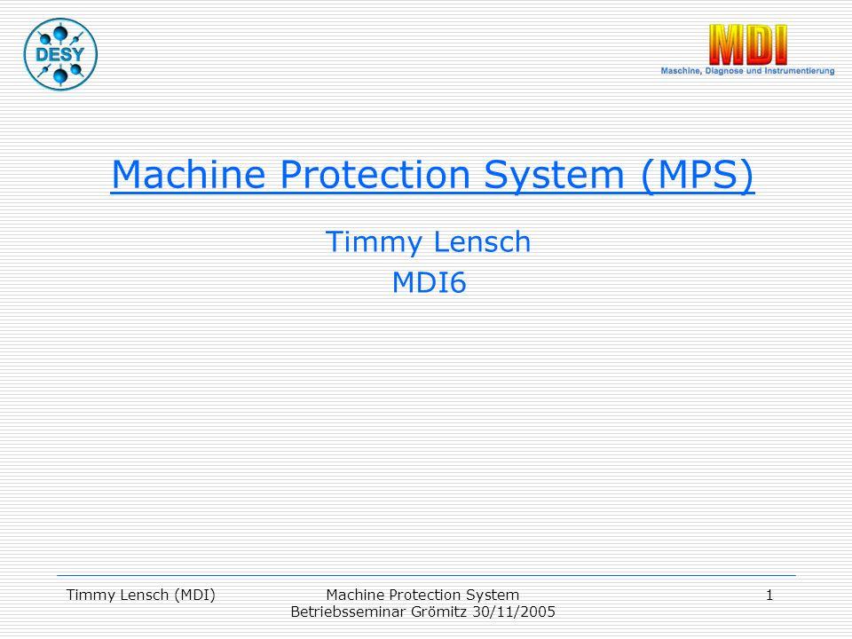 Timmy Lensch (MDI)Machine Protection System Betriebsseminar Grömitz 30/11/2005 12 Stromschwelle auf 0mA: Der Eingang löst immer einen Dump aus Strahlstrom z.B.