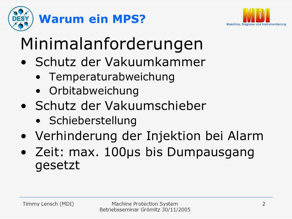Timmy Lensch (MDI)Machine Protection System Betriebsseminar Grömitz 30/11/2005 3 Optionale Zusatzanforderungen Post-Mortem Trigger Nachverfolgbarkeit, welcher Alarm war der erste Nicht jeder Alarm führt zum Strahldump