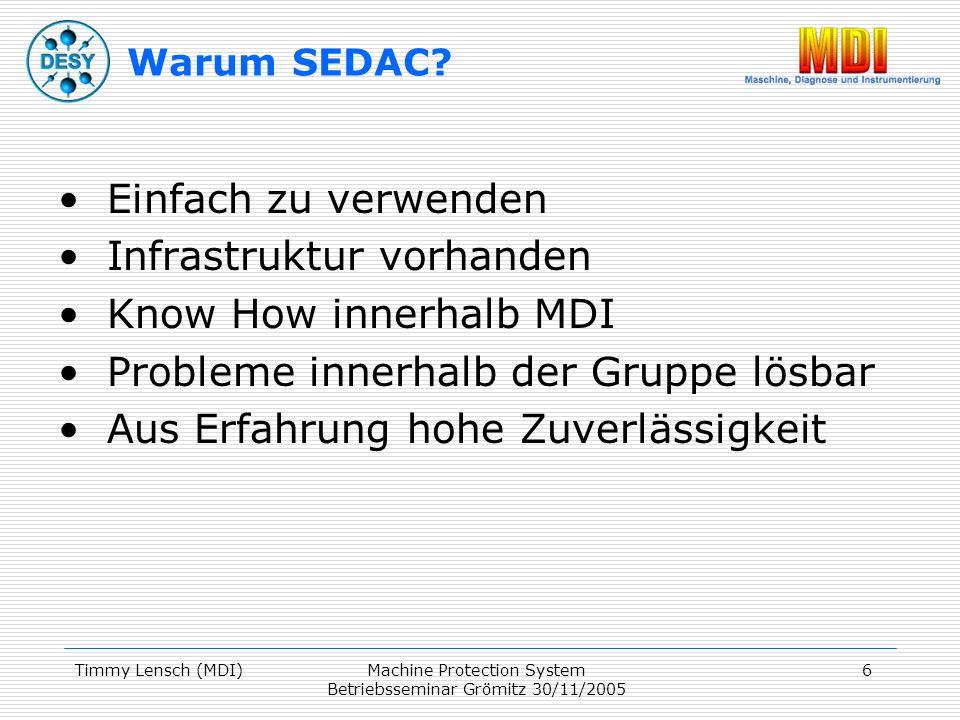 Timmy Lensch (MDI)Machine Protection System Betriebsseminar Grömitz 30/11/2005 6 Warum SEDAC.