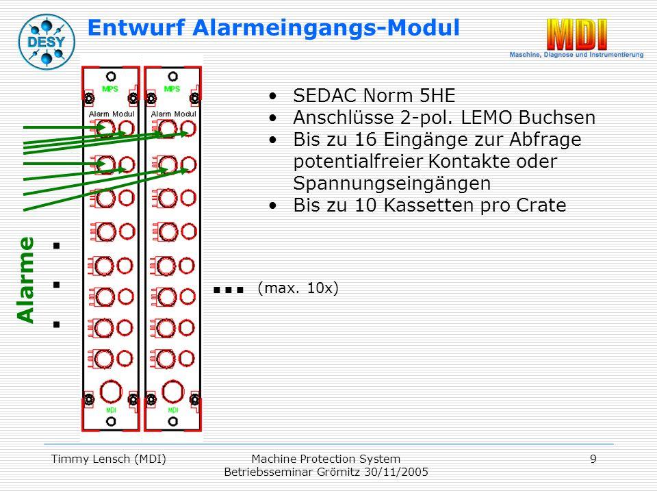 Timmy Lensch (MDI)Machine Protection System Betriebsseminar Grömitz 30/11/2005 9 SEDAC Norm 5HE Anschlüsse 2-pol.