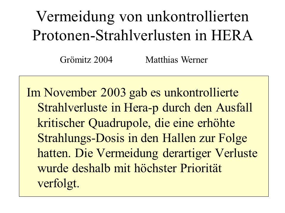 Vermeidung von unkontrollierten Protonen-Strahlverlusten in HERA Im November 2003 gab es unkontrollierte Strahlverluste in Hera-p durch den Ausfall kr