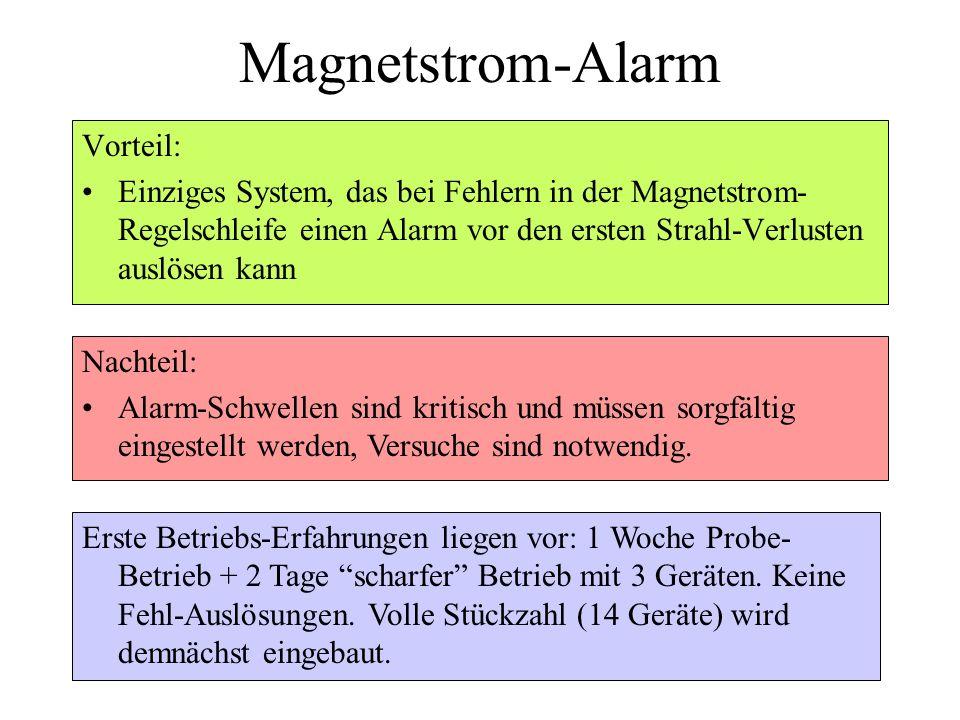 Magnetstrom-Alarm Vorteil: Einziges System, das bei Fehlern in der Magnetstrom- Regelschleife einen Alarm vor den ersten Strahl-Verlusten auslösen kan