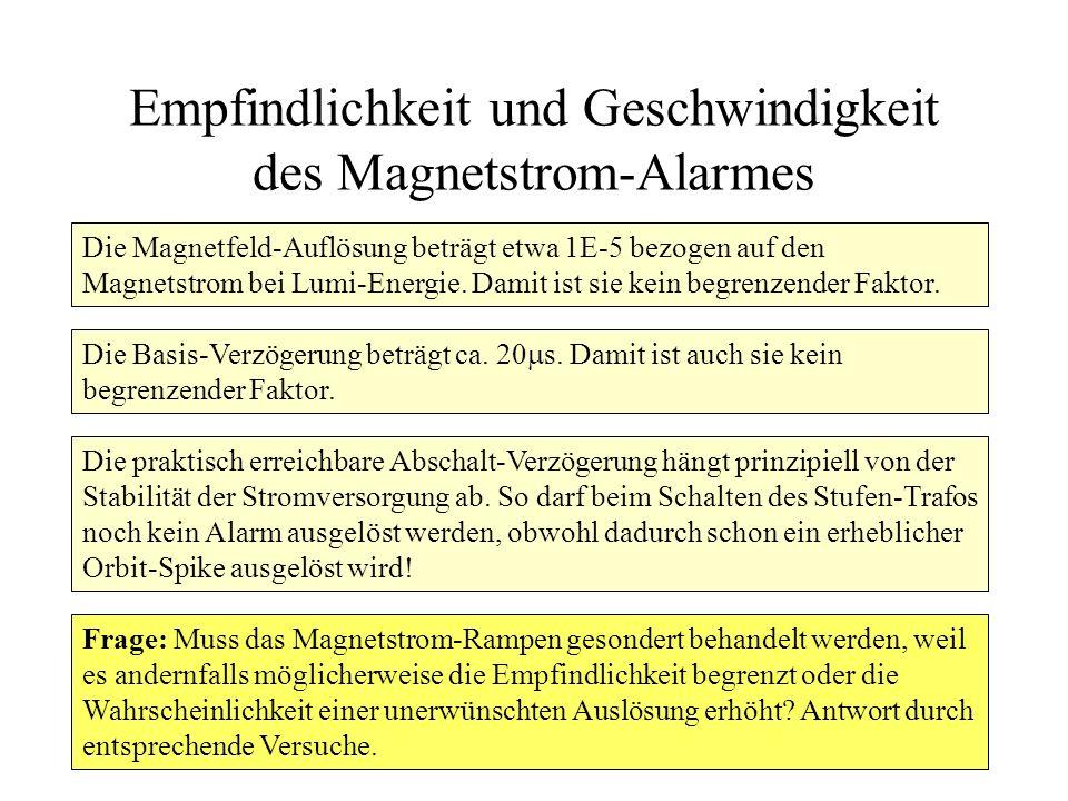 Empfindlichkeit und Geschwindigkeit des Magnetstrom-Alarmes Die Magnetfeld-Auflösung beträgt etwa 1E-5 bezogen auf den Magnetstrom bei Lumi-Energie. D