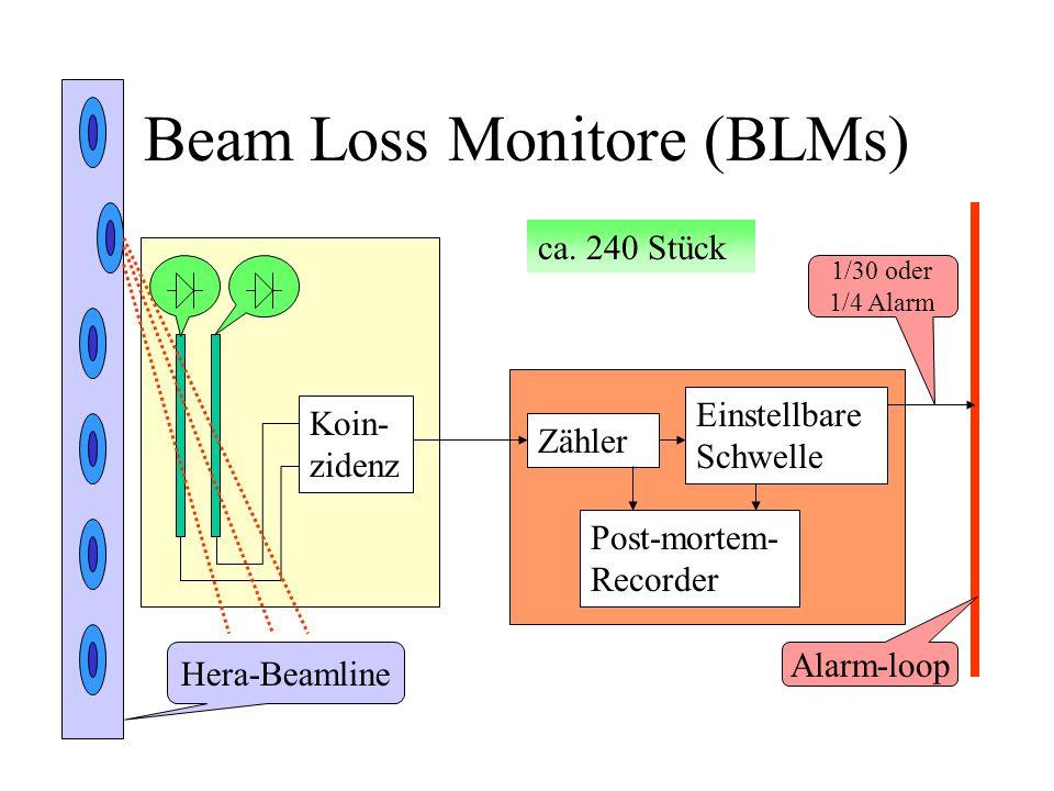 Beam Loss Monitore (BLMs) Koin- zidenz Hera-Beamline Zähler Einstellbare Schwelle 1/30 oder 1/4 Alarm Alarm-loop ca. 240 Stück Post-mortem- Recorder