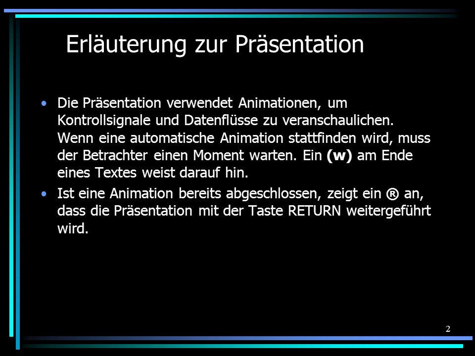 2 Erläuterung zur Präsentation Die Präsentation verwendet Animationen, um Kontrollsignale und Datenflüsse zu veranschaulichen. Wenn eine automatische