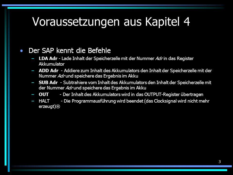 3 Voraussetzungen aus Kapitel 4 Der SAP kennt die Befehle –LDA Adr - Lade Inhalt der Speicherzelle mit der Nummer Adr in das Register Akkumulator –ADD