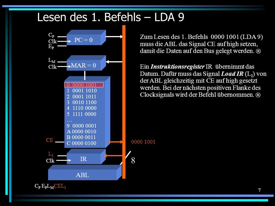 7 Lesen des 1. Befehls – LDA 9 0 0000 1001 1 0001 1010 2 0001 1011 3 0010 1100 4 1110 0000 5 1111 0000 … 9 0000 0001 A 0000 0010 B 0000 0011 C 0000 01
