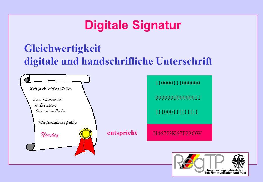 Digitale Signatur Sehr geehrter Herr Müller, hiermit bestelle ich 10 Exemplare Ihres neuen Buches. Mit freundlichen Grüßen Novotny 110000111000000 000