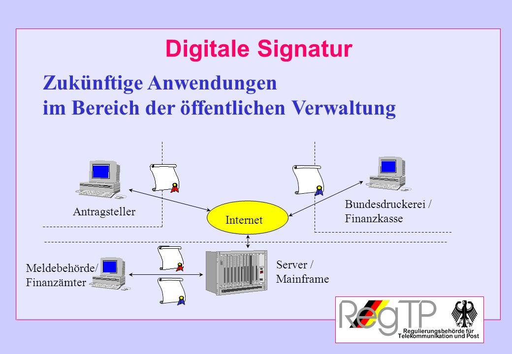 Digitale Signatur Zukünftige Anwendungen im Bereich der öffentlichen Verwaltung Server / Mainframe Meldebehörde/ Finanzämter Antragsteller Internet Bu