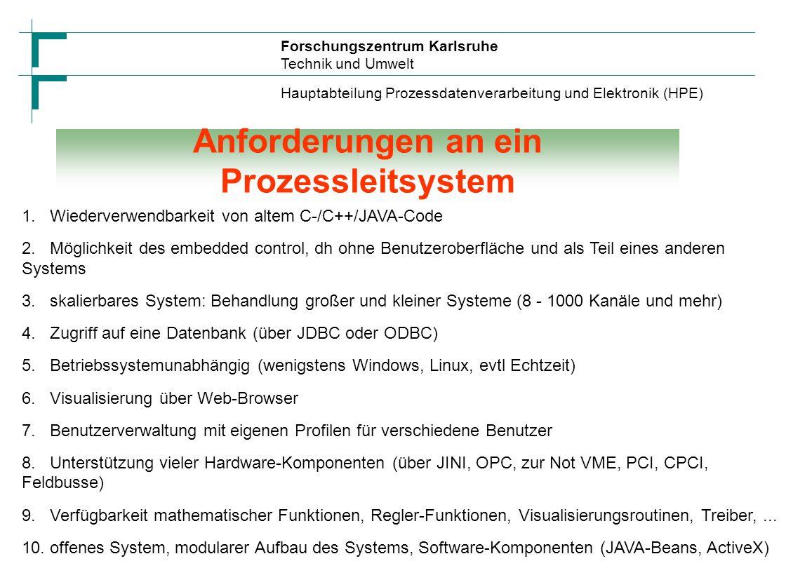 Forschungszentrum Karlsruhe Technik und Umwelt Hauptabteilung Prozessdatenverarbeitung und Elektronik (HPE) Systemarchitektur eines Prozessleitsystems