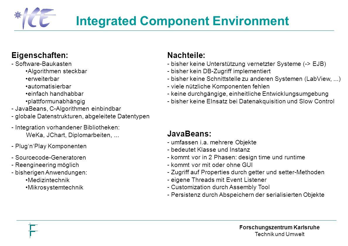 Forschungszentrum Karlsruhe Technik und Umwelt Nachteile: - bisher keine Unterstützung vernetzter Systeme (-> EJB) - bisher kein DB-Zugriff implementiert - bisher keine Schnittstelle zu anderen Systemen (LabView,...) - viele nützliche Komponenten fehlen - keine durchgängige, einheitliche Entwicklungsumgebung - bisher keine EInsatz bei Datenakquisition und Slow Control Eigenschaften: - Software-Baukasten Algorithmen steckbar erweiterbar automatisierbar einfach handhabbar plattformunabhängig - JavaBeans, C-Algorithmen einbindbar - globale Datenstrukturen, abgeleitete Datentypen - Integration vorhandener Bibliotheken: WeKa, JChart, Diplomarbeiten,...