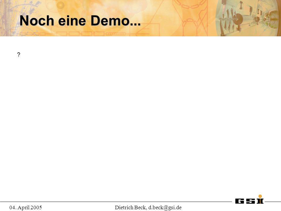 04. April 2005Dietrich Beck, d.beck@gsi.de Noch eine Demo...
