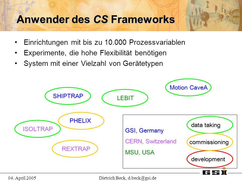 04. April 2005Dietrich Beck, d.beck@gsi.de Anwender des CS Frameworks Einrichtungen mit bis zu 10.000 Prozessvariablen Experimente, die hohe Flexibili