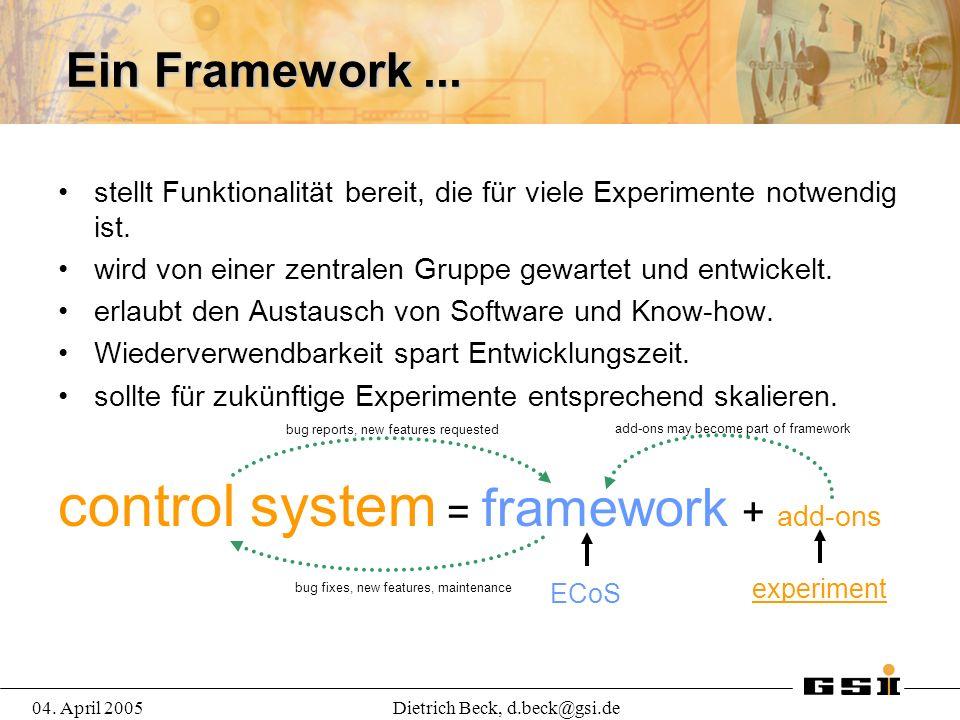 04. April 2005Dietrich Beck, d.beck@gsi.de Ein Framework...