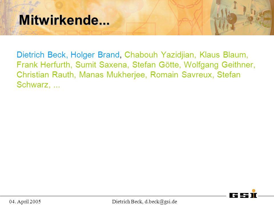 04. April 2005Dietrich Beck, d.beck@gsi.de Mitwirkende...