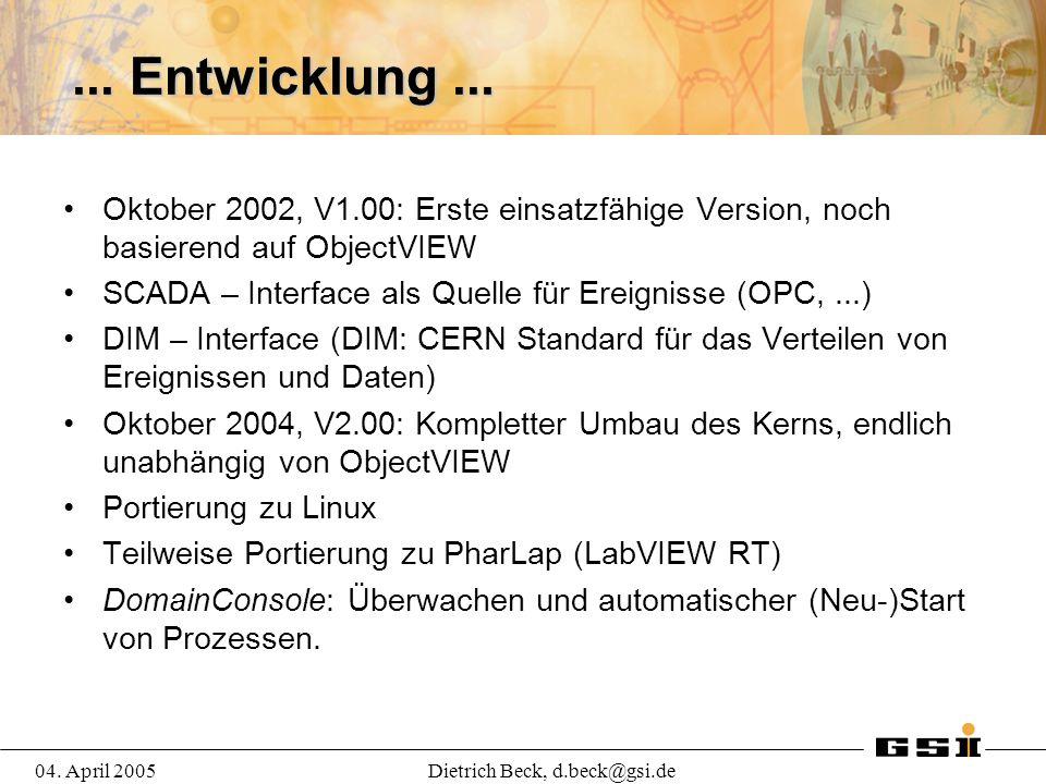 04. April 2005Dietrich Beck, d.beck@gsi.de... Entwicklung...