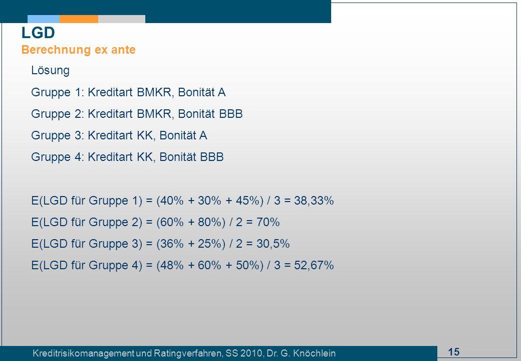 15 Kreditrisikomanagement und Ratingverfahren, SS 2010, Dr. G. Knöchlein Lösung Gruppe 1: Kreditart BMKR, Bonität A Gruppe 2: Kreditart BMKR, Bonität