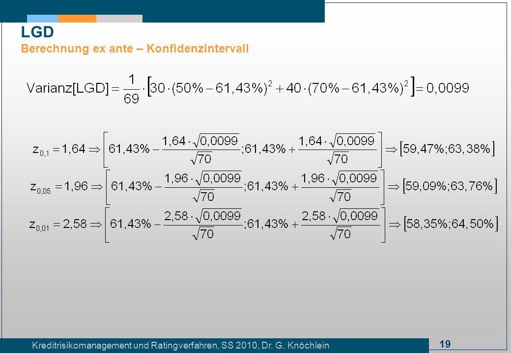 19 Kreditrisikomanagement und Ratingverfahren, SS 2010, Dr. G. Knöchlein LGD Berechnung ex ante – Konfidenzintervall