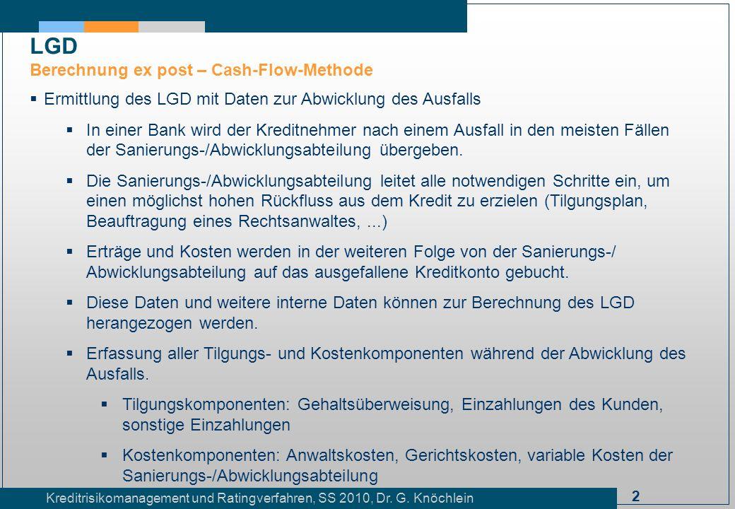 2 Kreditrisikomanagement und Ratingverfahren, SS 2010, Dr. G. Knöchlein Ermittlung des LGD mit Daten zur Abwicklung des Ausfalls In einer Bank wird de