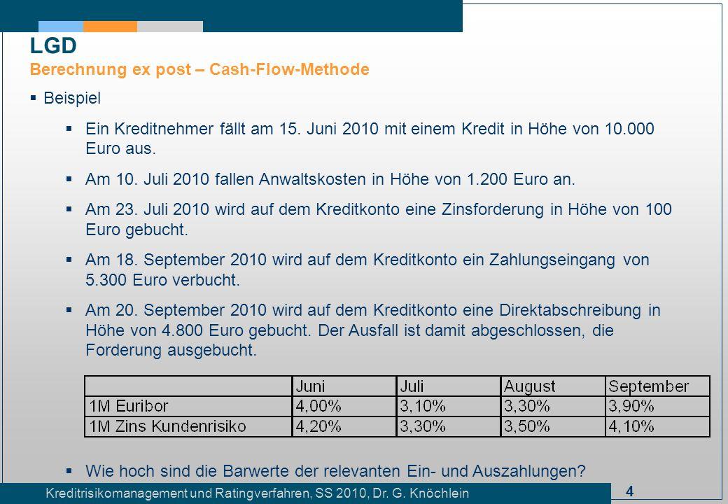 4 Kreditrisikomanagement und Ratingverfahren, SS 2010, Dr. G. Knöchlein Beispiel Ein Kreditnehmer fällt am 15. Juni 2010 mit einem Kredit in Höhe von
