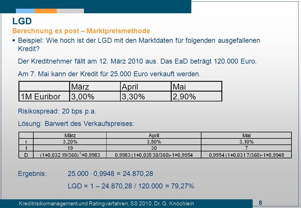 8 Kreditrisikomanagement und Ratingverfahren, SS 2010, Dr. G. Knöchlein Beispiel: Wie hoch ist der LGD mit den Marktdaten für folgenden ausgefallenen