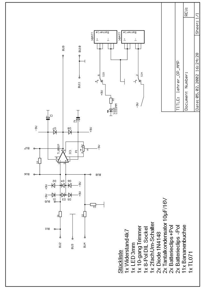 Stückliste 1x Widerstand 4k7 1x LED 3mm 1x 10-gang Trimmer 1x 8-Pol DIL Sockel 1x 2fach Um-Schalter 2x Diode 1N4148 2x Tantalkondensator 10µF/16V 2x B
