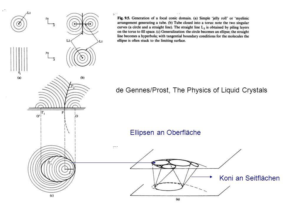 Ellipsen an Oberfläche Koni an Seitflächen de Gennes/Prost, The Physics of Liquid Crystals