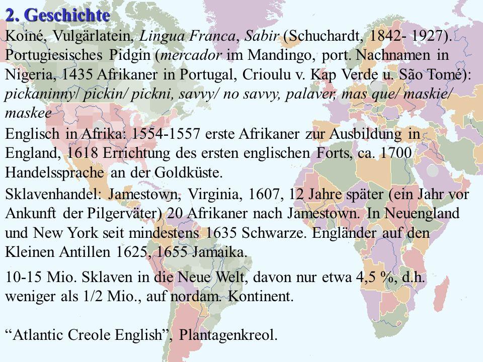 2. Geschichte Koiné, Vulgärlatein, Lingua Franca, Sabir (Schuchardt, 1842- 1927). Portugiesisches Pidgin (mercador im Mandingo, port. Nachnamen in Nig