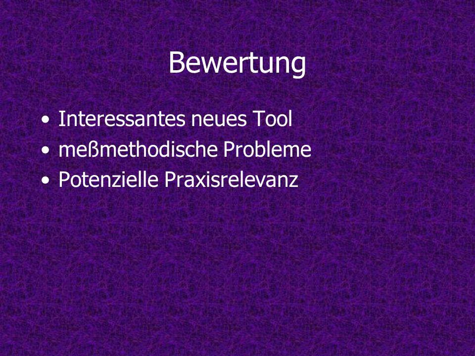 Bewertung Interessantes neues Tool meßmethodische Probleme Potenzielle Praxisrelevanz